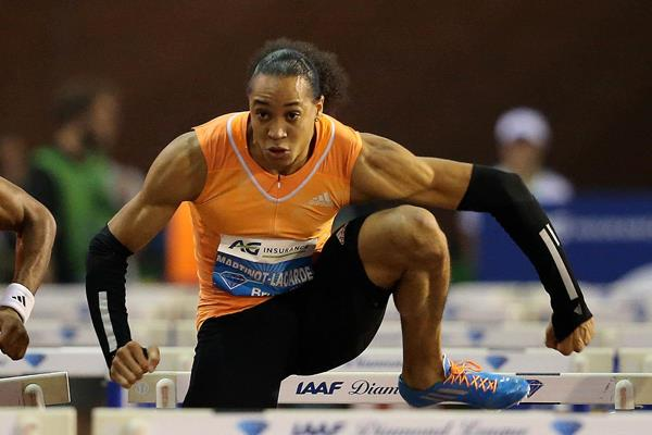 Pascal Martinot-Lagarde winning the 110m hurdles at the 2014 IAAF Diamond League final in Brussels (Gladys von der Laage)
