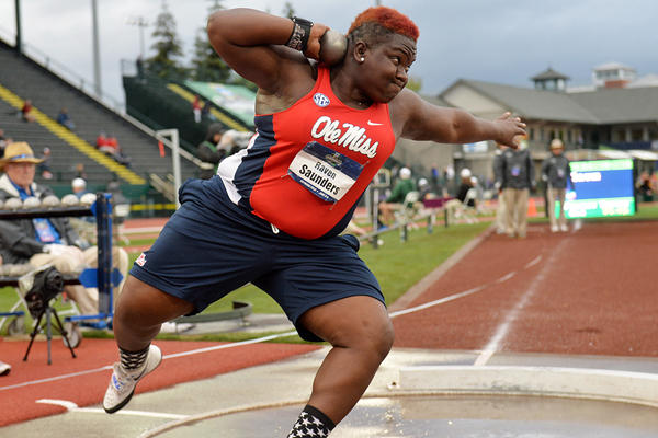 Raven Saunders in the shot put at the NCAA Championships (Kirby Lee)