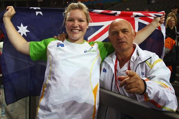 Dani Samuels of Australia celebrates winning the gold medal in the women's Discus with Coach Denis Knowles in the Berlin Olympic Stadium (Getty Images)