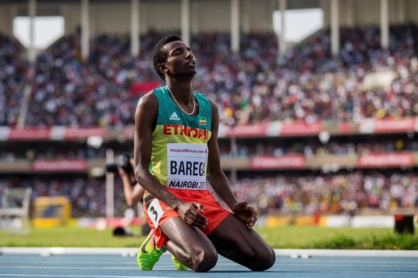 Selemon Barega after winning the 3000m at the IAAF World U18 Championships Nairobi 2017 (Getty Images)