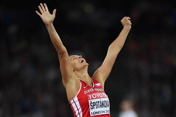 Barbora Spotakova after winning the javelin at the IAAF World Championships London 2017 (Getty Images)