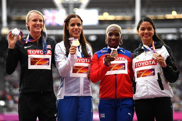 Sandi Morris, Ekaterini Stefanidi, Yarisley Silva and Robeilys Peinado after the women's pole vault at the IAAF World Championships London 2017 (Getty)