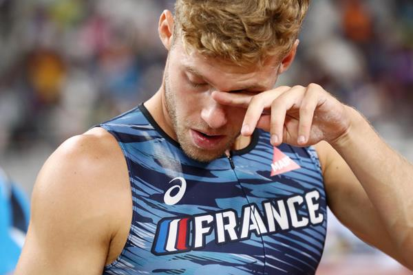 Defending decathlon champion Kevin Mayer after injury forces him out of the pole vault at the IAAF World Championships Doha 2019 (Getty Images)