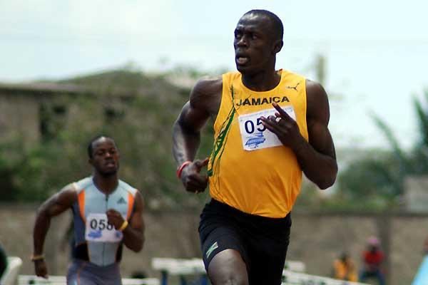 Bolt running 10.03 at the Lucozade Sport/G.C. Foster Classics in Spanish Town (Anthony Foster)