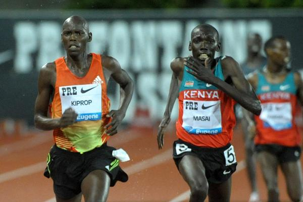Wilson Kiprop wins the Kenyan 2012 Olympic 10,000m Trials in Eugene (Kirby Lee - Image of Sport)