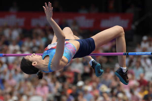 High jump winner Maria Lasitskene at the IAAF Diamond League meeting in London (Kirby Lee)