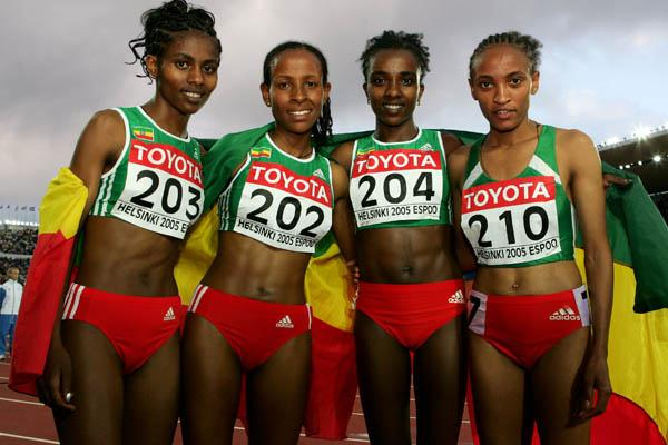 Tirunesh Dibaba and compatriots celebrate their domination of the women's 5000m final (Getty Images)