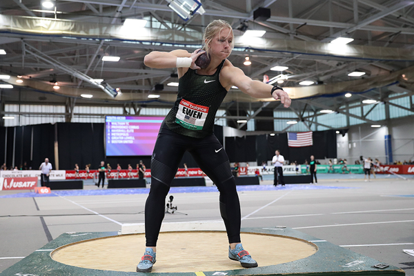 Maggie Ewen, winner of the shot put at the IAAF World Indoor Tour meeting in Boston (Victah Sailer)