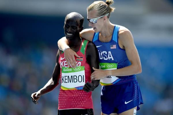 Ezekiel Kemboi and Evan Jager after the 3000m steeplechase at the Rio 2016 Olympic Games (Getty Images)