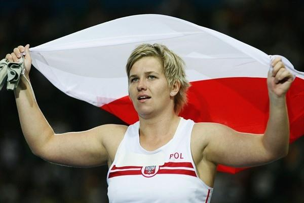 Anita Wlodarczyk of Poland celebrates winning the gold medal and setting her World Record in the women's Hammer Throw at the 12th IAAF World Championships in Athletics (Getty Images)