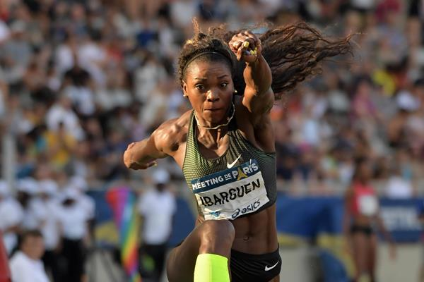 Caterine Ibarguen in the triple jump at the IAAF Diamond League meeting in Paris (Kirby Lee)