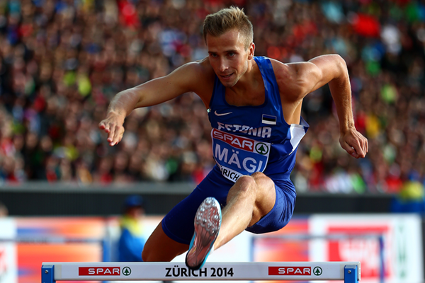 Rasmus Mägi competes in the 400m hurdles at the European Championships in Zurich ()