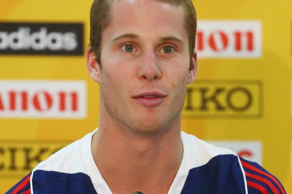 Canadian high jump record-holder Derek Drouin at the press confrence ahead of the IAAF Continental Cup, Marrakech 2014 (Getty Images)