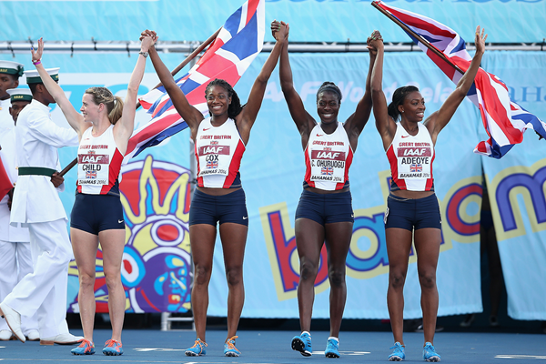 The British 4x400m team is introduced at the IAAF World Relays (Getty Images)