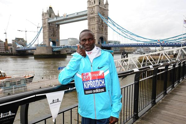 Stephen Kiprotich ahead of the 2013 Virgin London Marathon  (Getty Images)