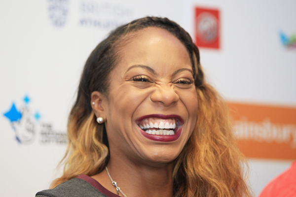 Sanya Richards-Ross at the press conference for the IAAF Diamond League meeting in London (Jean-Pierre Durand)