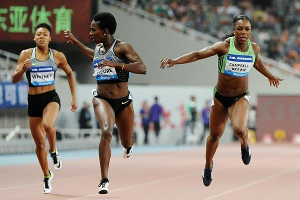 Murielle Ahoure takes victory over 200m at the 2016 IAAF Diamond League in Shanghai (Errol Anderson)