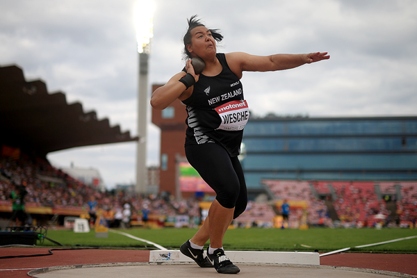 Maddison-Lee Wesche in the shot put at the IAAF World U20 Championships Tampere 2018 (Getty Images)