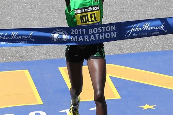 Caroline Kilel takes the 2011 Boston title in 2:22:36 (Getty Images)