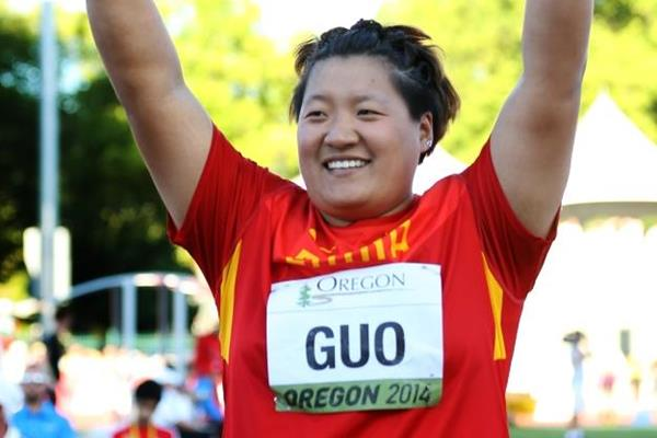Shot put winner Guo Tianqian at the IAAF World Junior Championships, Oregon 2014 (Getty Images)