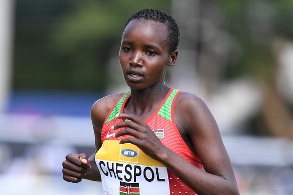 Kenya's Celliphine Chespol in action (Jiro Mochizuki)