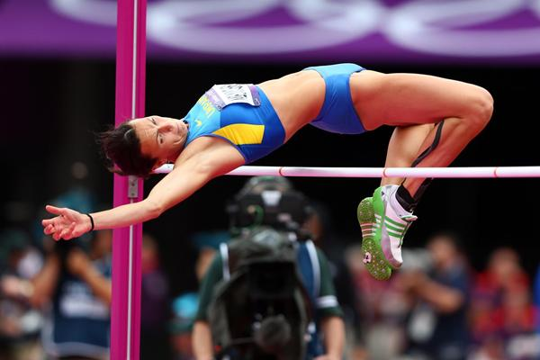 Hanna Melnychenko of Ukraine competes in the Women's Heptathlon High Jump on Day 7 of the London 2012 Olympic Games at Olympic Stadium on August 3, 2012 (Getty Images)