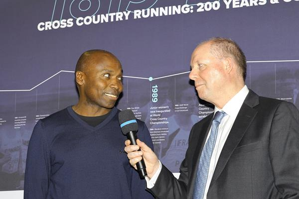 Wilson Kipketer at the opening ceremony of the IAAF Heritage XC Display in Aarhus (LOC)