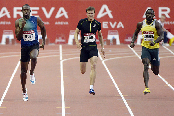 Usain Bolt, Christophe Lemaitre and Nickel Ashmeade in action at the IAAF Diamond League meeting in Paris (AFP / Getty Images)