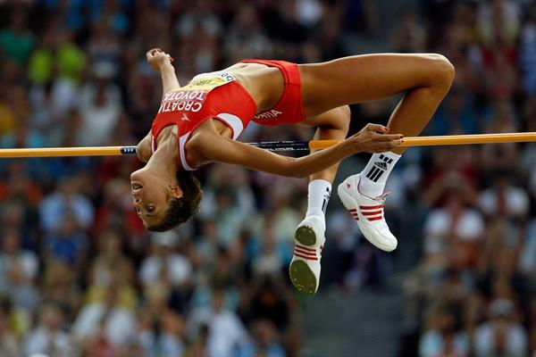 Blanka Vlasic of Croatia clears 2.04m in the women's High Jump to defend her World Championship title in Berlin (Getty Images)