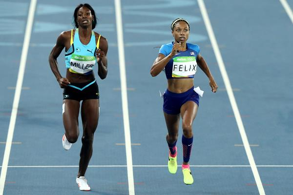 Allyson Felix and Shaunae Miller in the 400m at the Rio 2016 Olympic Games (Getty Images)