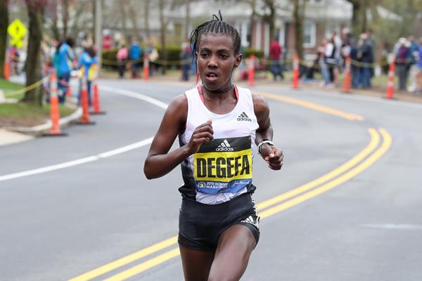 On her own: Worknesh Degefa in Boston (Victah Sailer)