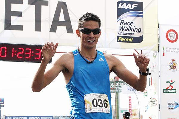 Horacio Nava after winning the 20km race walk in Ciudad Juarez (Chihuahua Sports Institute)