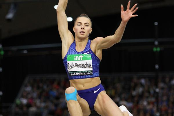 Maryna Bekh-Romanchuk in the long jump at the World Athletics Indoor Tour meeting in Karlsruhe (Jean-Pierre Durand)