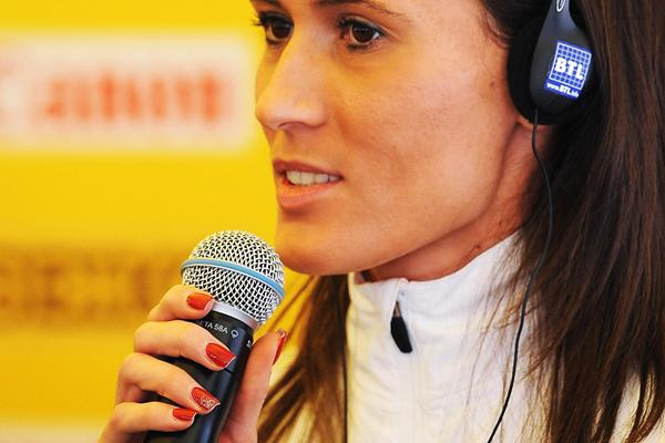 Katarzyna Kowalska (POL) at the IAAF Press Conference on the eve of the IAAF World Cross Country Championships, Bydgoszcz, Poland, on Saturday 23 March (Getty Images)