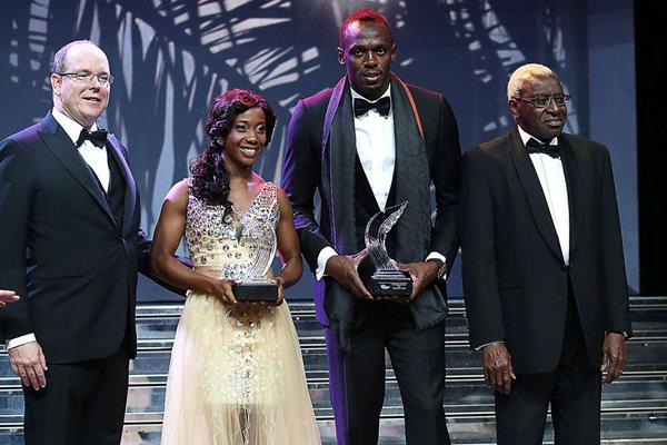 International Athletics Foundation (IAF) Honorary President HSH Prince Albert II of Monaco and IAF & IAAF President Lamine Diack with 2013 World Athletes of the Year Usain Bolt and Shelly-Ann Fraser-Pryce at the IAF World Athletics Gala (IAAF)