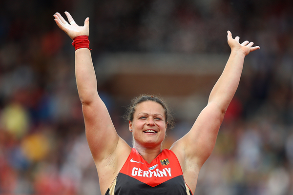 Christina Schwanitz celebrates her victory in the shot put at the European Championships (Getty Images)