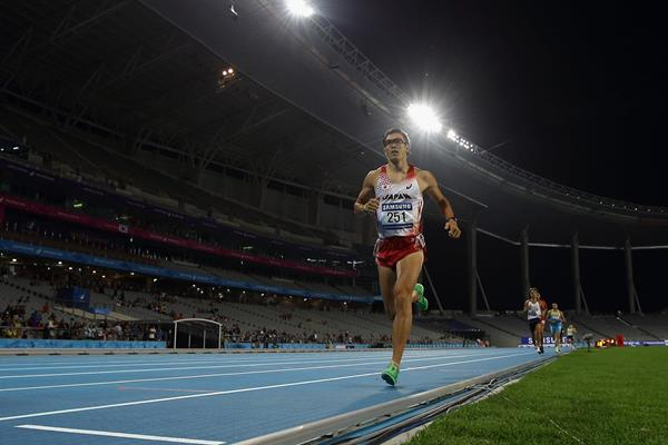 Japan's Keisuke Ushiro in the decathlon 1500m at the Asian Games (Getty Images)