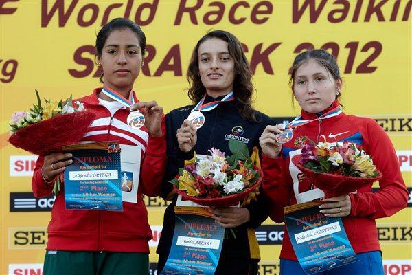 The women's junior podium: Sandra Arenas, Alejandra Ortega and Nadsezhda Leontyeva (Getty Images)