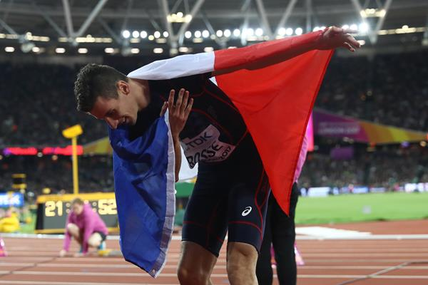 Pierre-Ambroise Bosse of France after winning the men's 800m at the IAAF World Championships London 2017 (Getty)