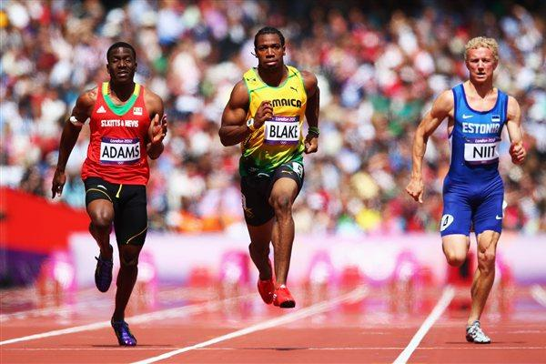 (L-R) Antoine Adams of Saint Kitts and Nevis. Yohan Blake of Jamaica and Marek Niit of Estonia competes in the Men's 100m Round 1 Heats on Day 8 of the London 2012 Olympic Games on 4 August 2012 (Getty Images)