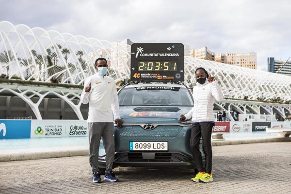 Birhanu Legese and Peres Jepchirchir ahead of the Valencia Marathon (Organisers)