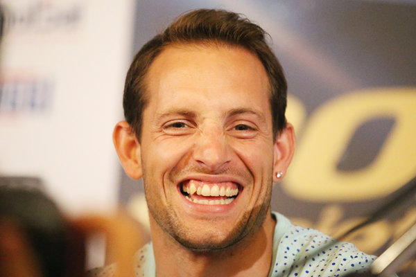 Renaud Lavillenie at the press conference for the IAAF Diamond League meeting in Rome (Gladys von der Laage)