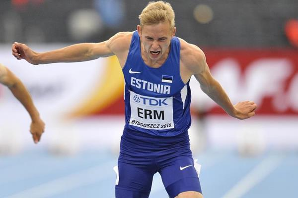 Johannes Erm competes in the decathlon 100m at the IAAF World U20 Championships Bydgoszcz 2016 (Getty Images)