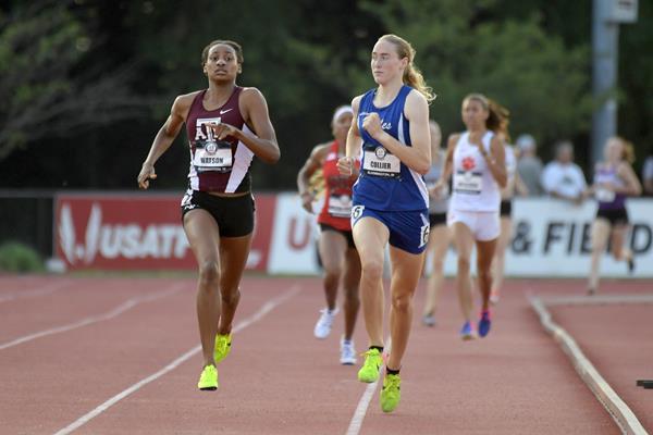 Sammy Watson winning the US junior 800m title (Kirby Lee)