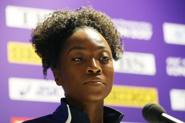 Tianna Bartoletta at a pre-meet press conference in London (Getty Images)