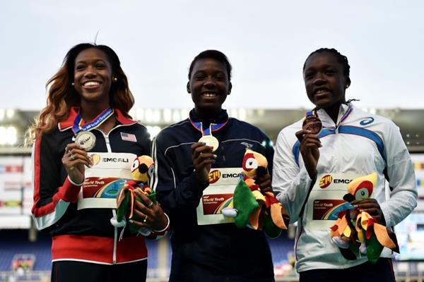 Girls' 100m hurdles podium at the IAAF World Youth Championships, Cali 2015 (Getty Images)