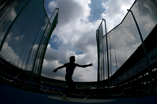 A decathlete in action in the discus (Getty Images)