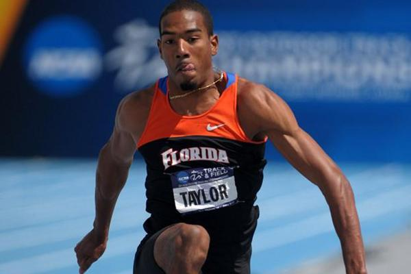 Christian Taylor sails to a wind-assisted 17.80m (+2.3) at the NCAA championships (Kirby Lee)