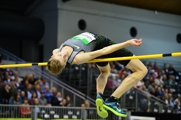 Pavel Seliverstau, winner of the high jump at the IAAF World Indoor Tour meeting in Karlsruhe (Jiro Mochizuki)