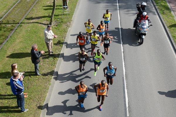 Leaders in the 2014 ABN AMRO Rotterdam Marathon (Erik van Leeuwen)